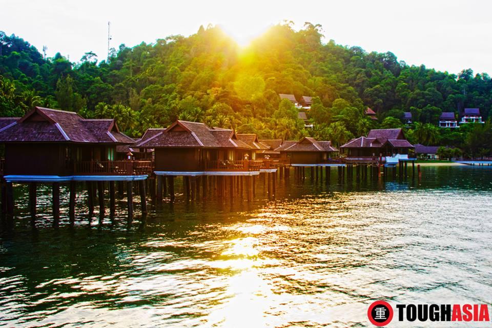 Sunsets upon the sea villas of Pangkor Laut Resort.