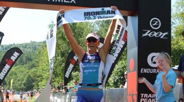 Mirinda Carfrae waited till the run leg to win the Ironman 70.3 Timberman. (Ironman.com)