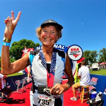 The sprightly Iron Nun - Sister Buder has completed 45 triathlons including Ironman Kona  at age 82. (Rich Cruse)