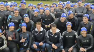 The Brownlee brothers Alistair and Jonny pose with triathletes at the Brownlee Triathlon. (Yorkshire Post)