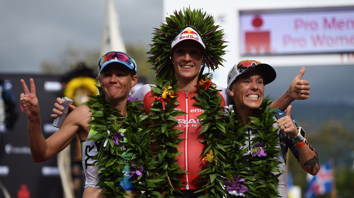 Iron ladies Daniela Ryf, Mirinda Carfrae and Heather Jackson complete the podium. (Ironman.com)