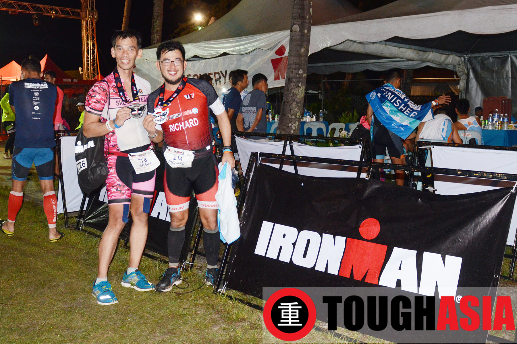 Training buddies Jeffery Lim(left) and Richard Lee celebrating their maiden Ironman race at Ironman Malaysia, Langkawi.