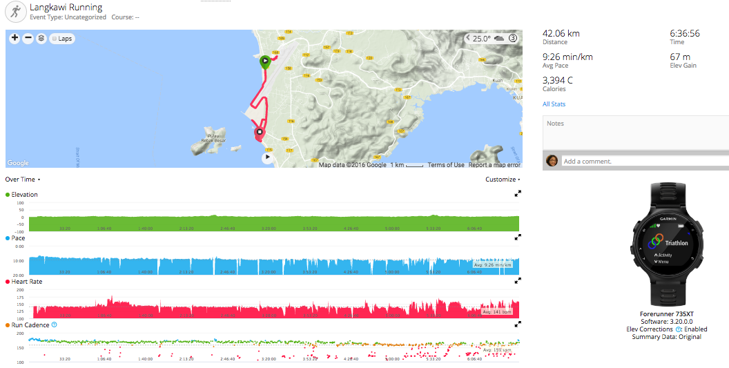 Richard Lee's running statistics from the Garmin Forerunner 735XT at Ironman Malaysia